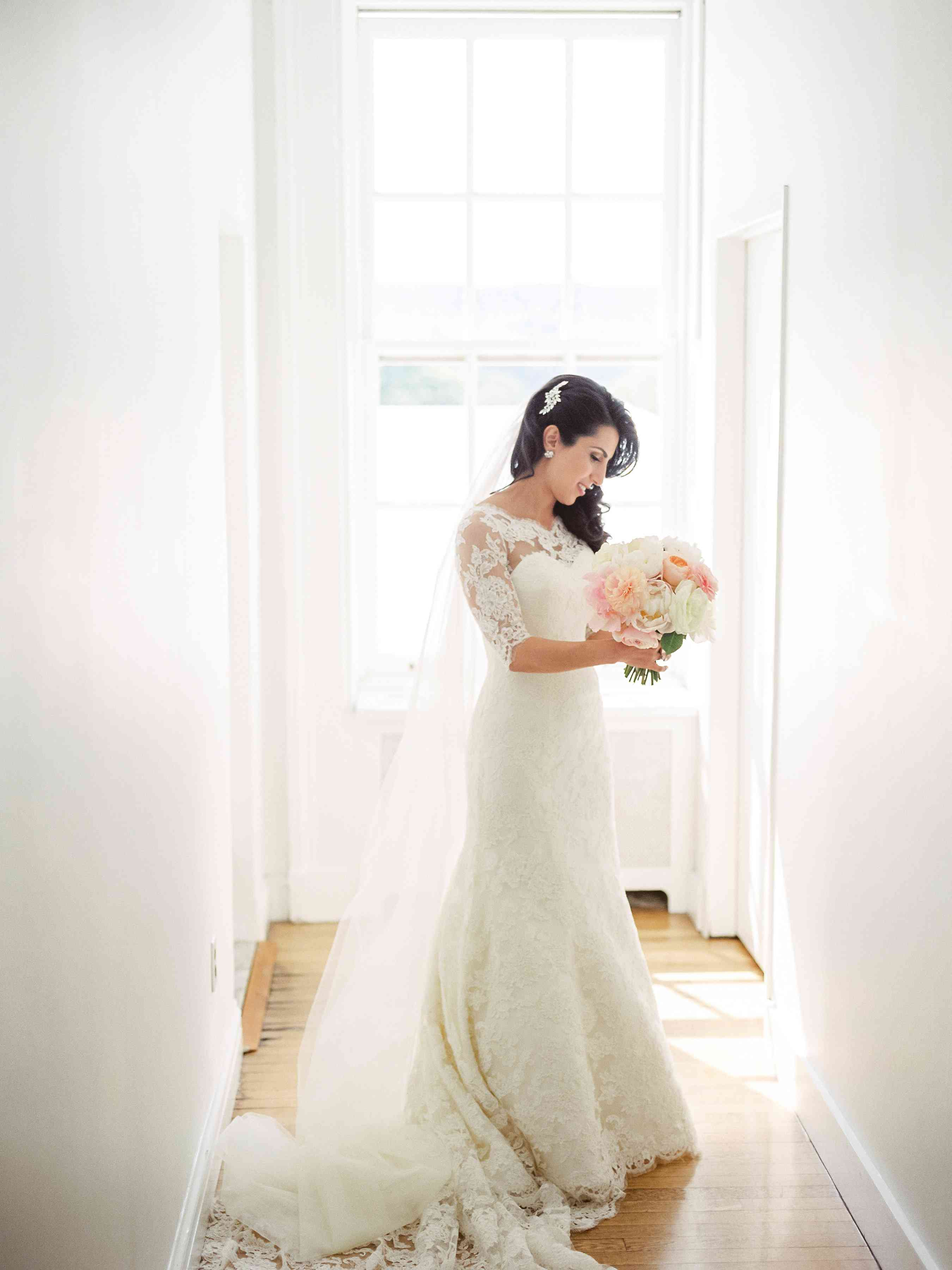 The bride in her wedding dress