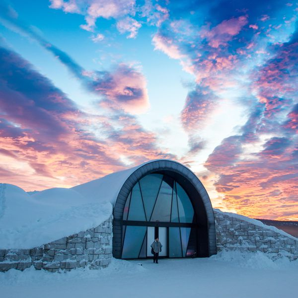 Beautiful sunset over Icehotel Sweden