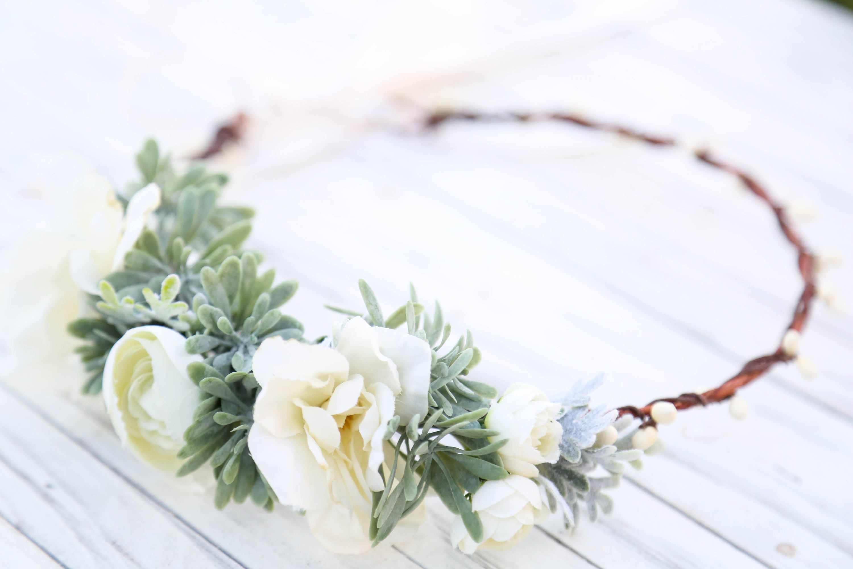 white Flower wreath headdress