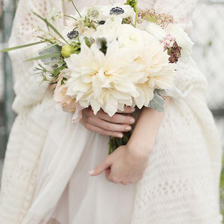 An all-white bouquet