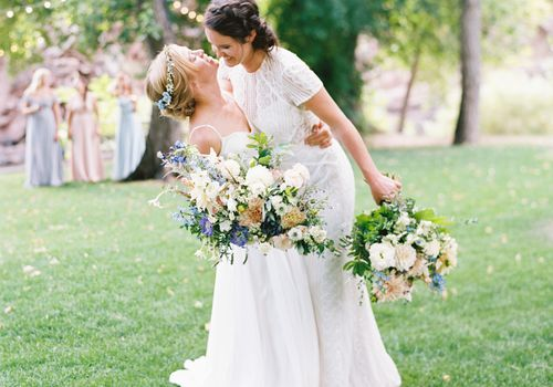 brides in BHLDN dresses