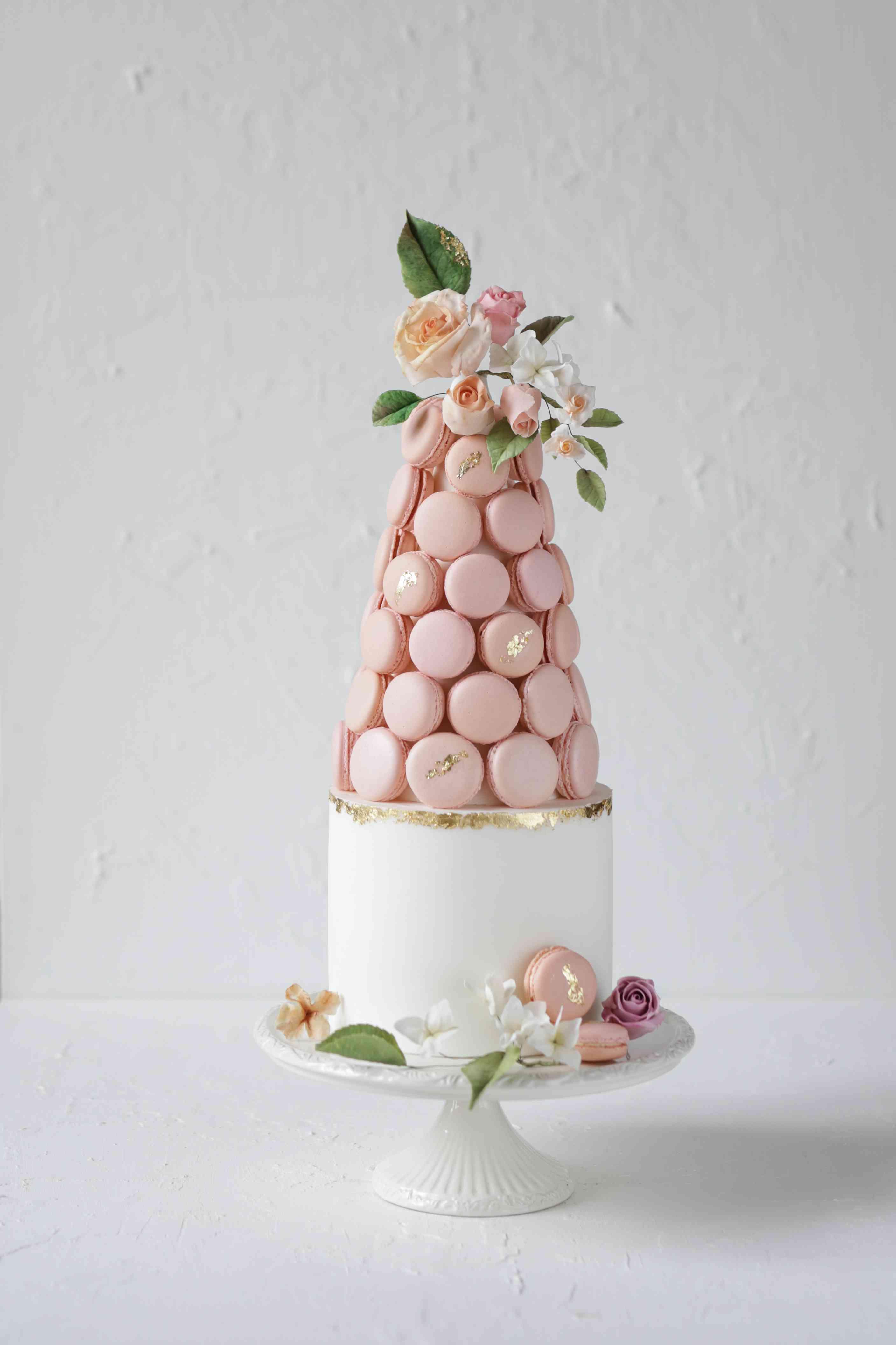 Pink macaron wedding cake