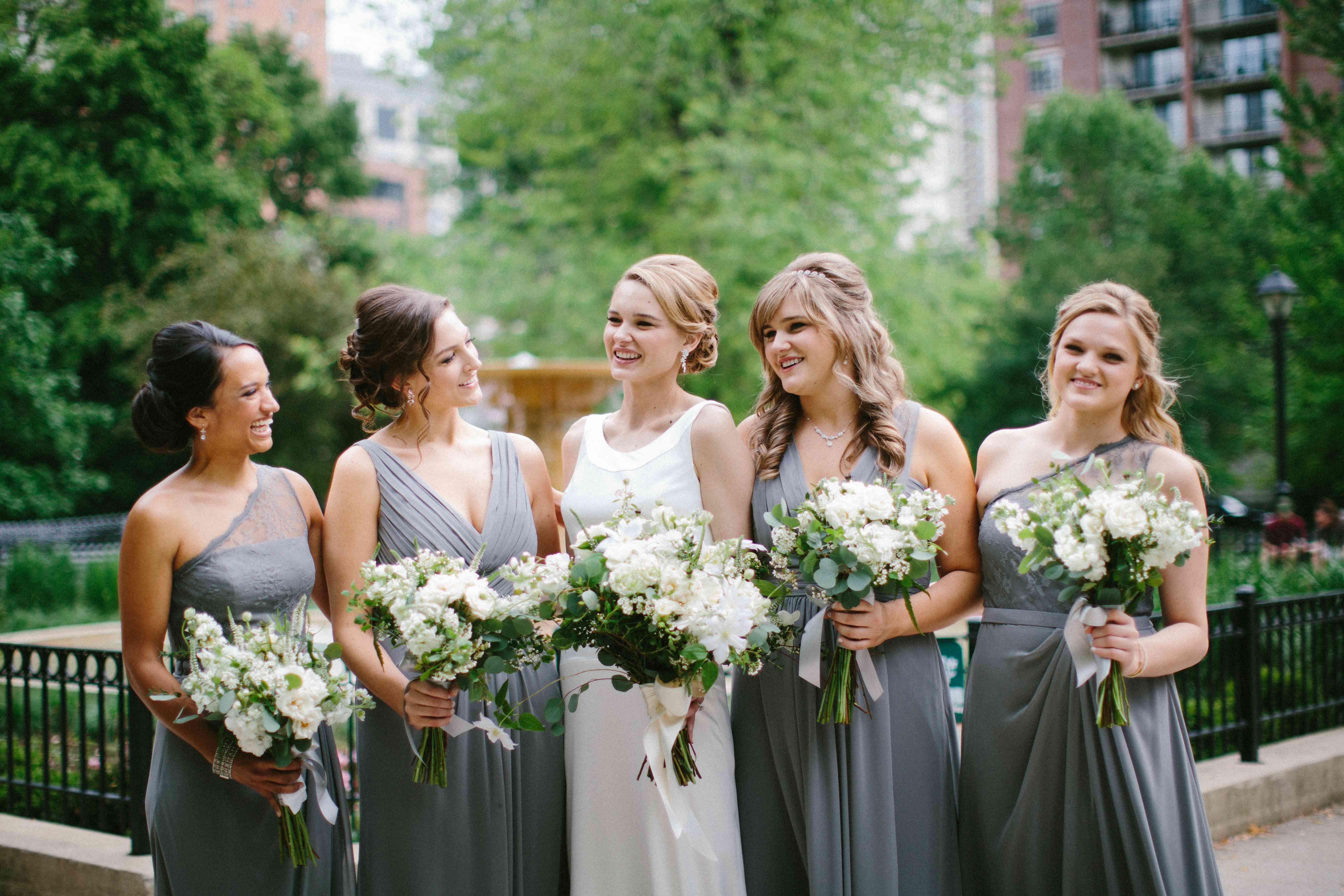 Bridal Party in Grey Bridesmaid Dresses