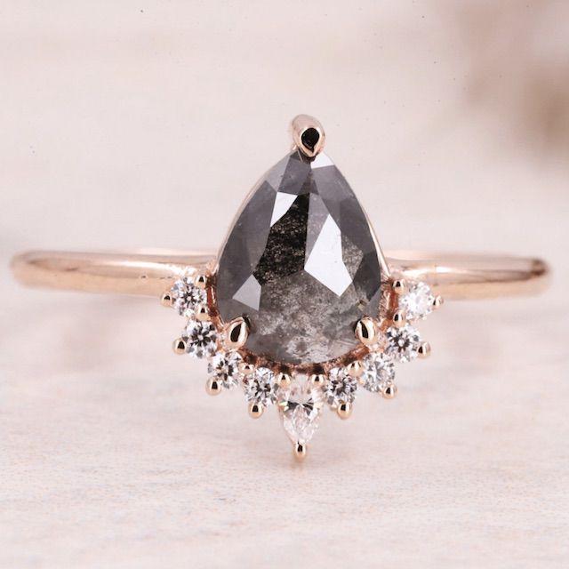 RubyStaUSA Salt and Pepper diamond Ring| Salt and pepper Ring| Pear Diamond Ring | Salt and Pepper Engagement Ring| Wedding Ring| 14k Solid Gold Ring