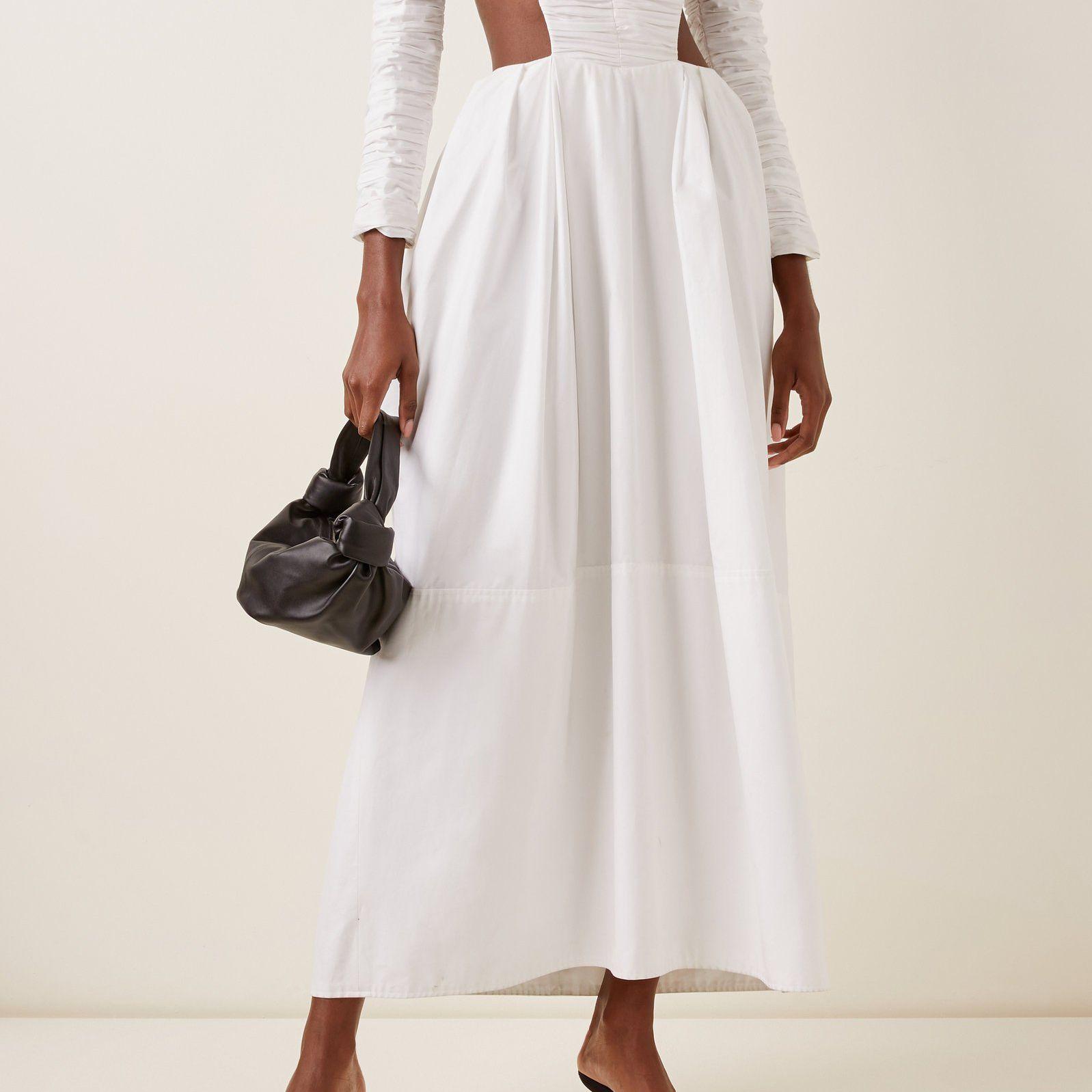 Khaite Rosaline Ruched Cotton Dress