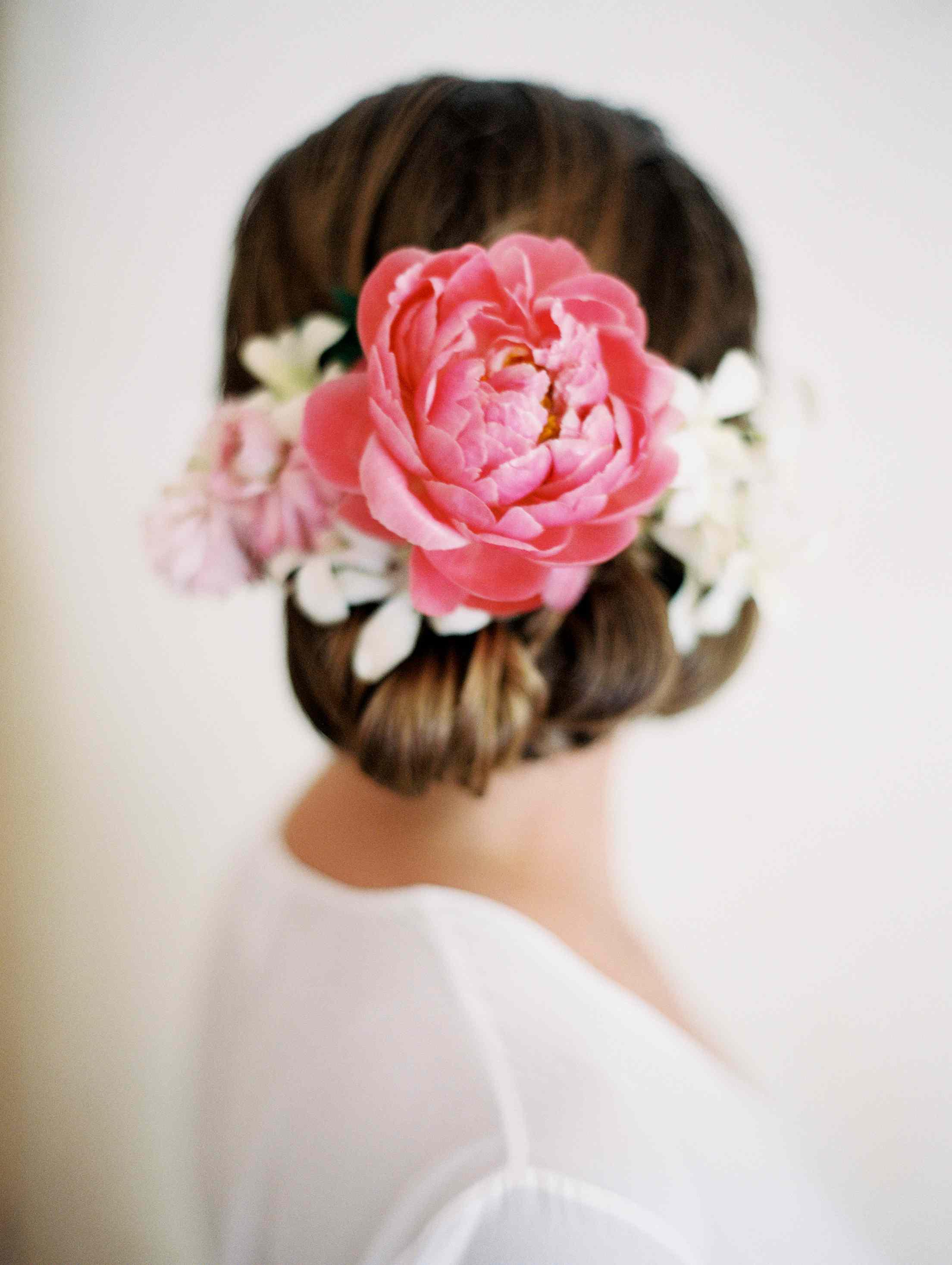 Flower in bride's hair