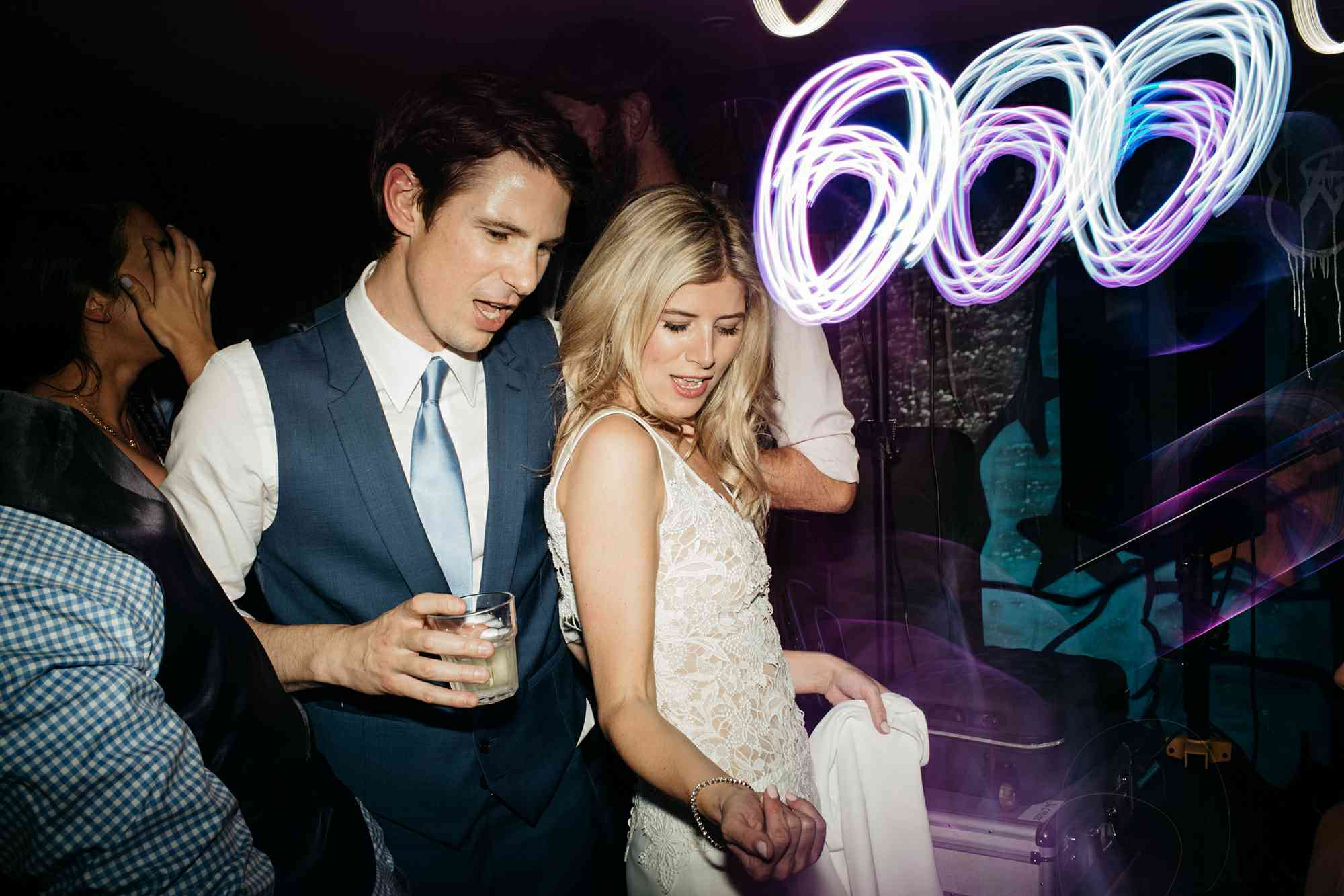 Bride and groom dancing during wedding