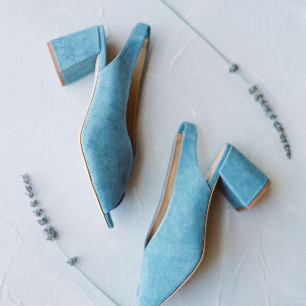 bride's light blue shoes