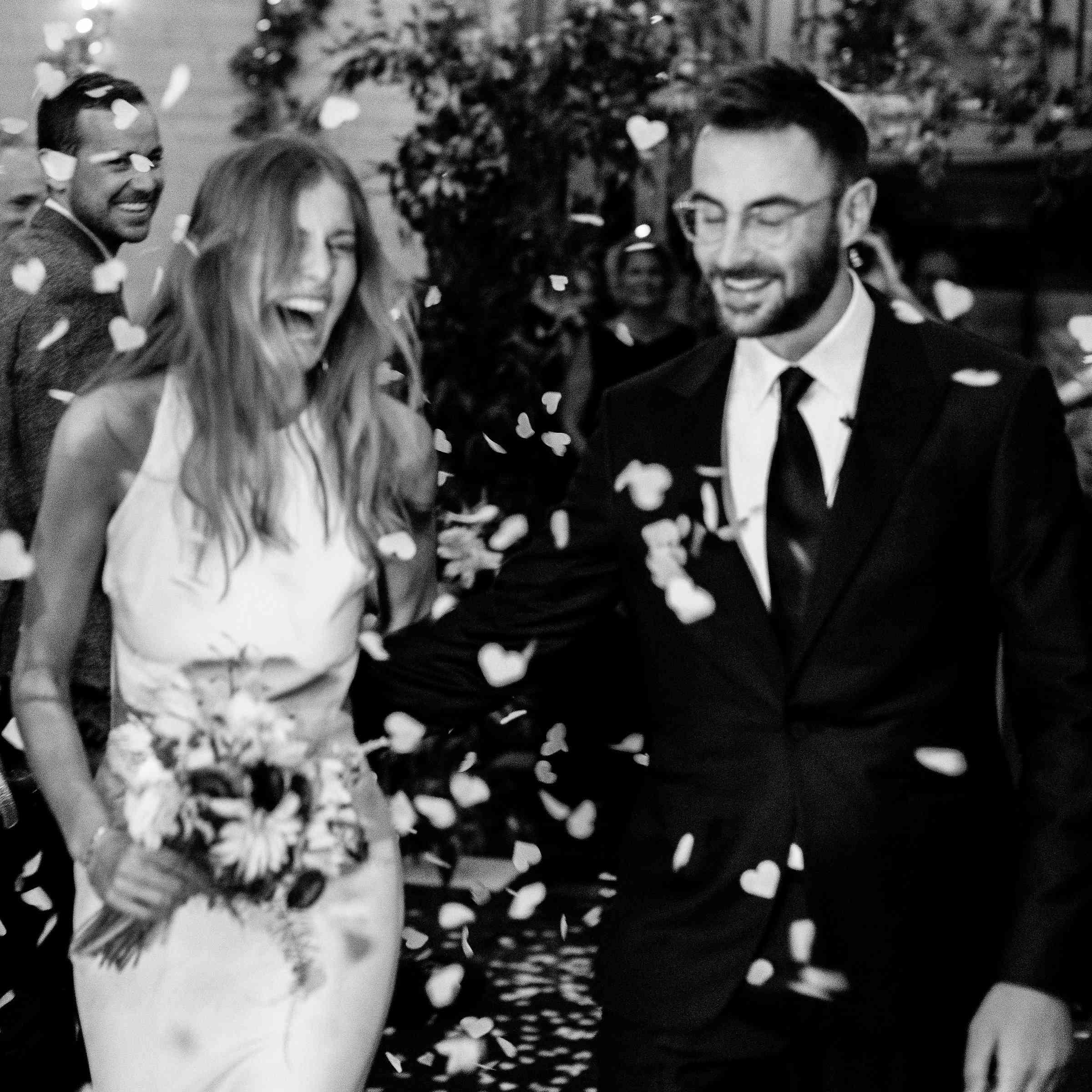 Bride and groom flower petals