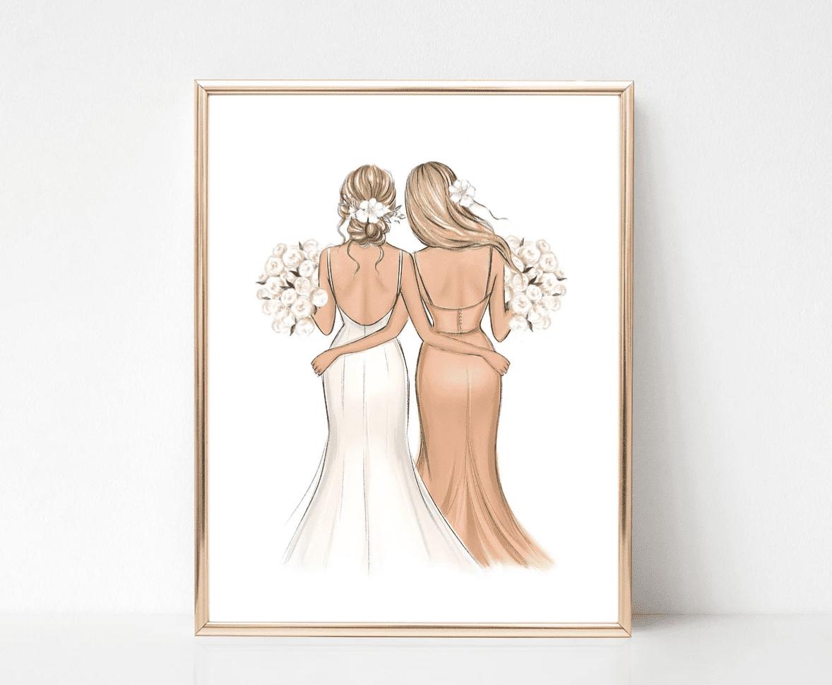LalanaartsShop Bridal Gals Illustration