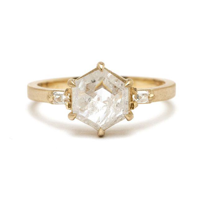 Sofia Kaman Stardust Ring with Hexagon Salt and Pepper Diamond