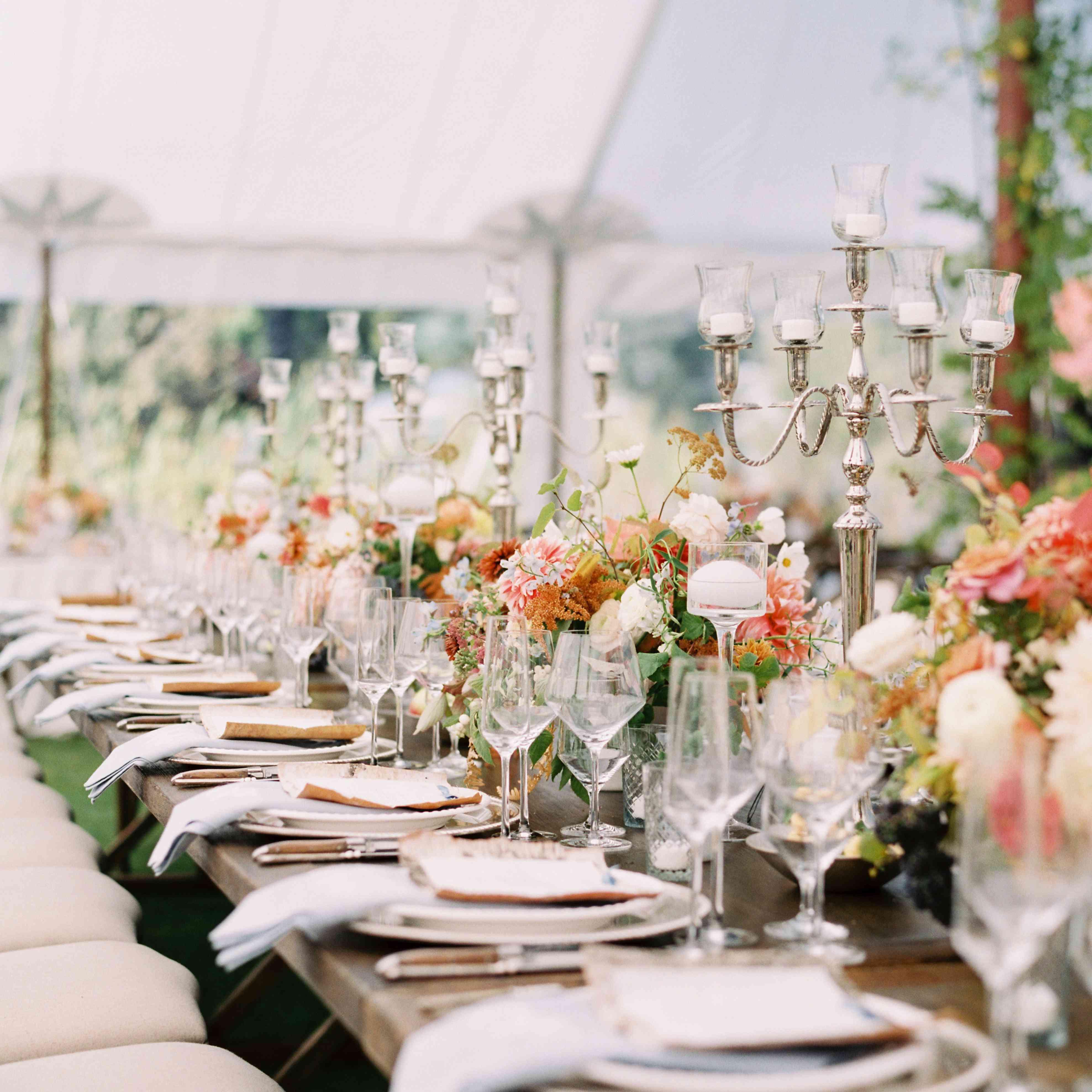 tablescape silver candelabra