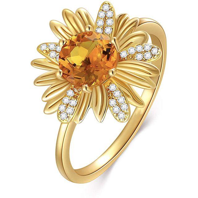 BEBEWO Yellow Gold Sunflower Orange Garnet Ring