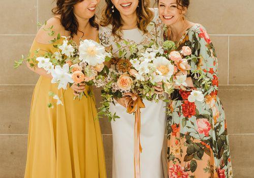 <p>Bride and bridesmaids</p>