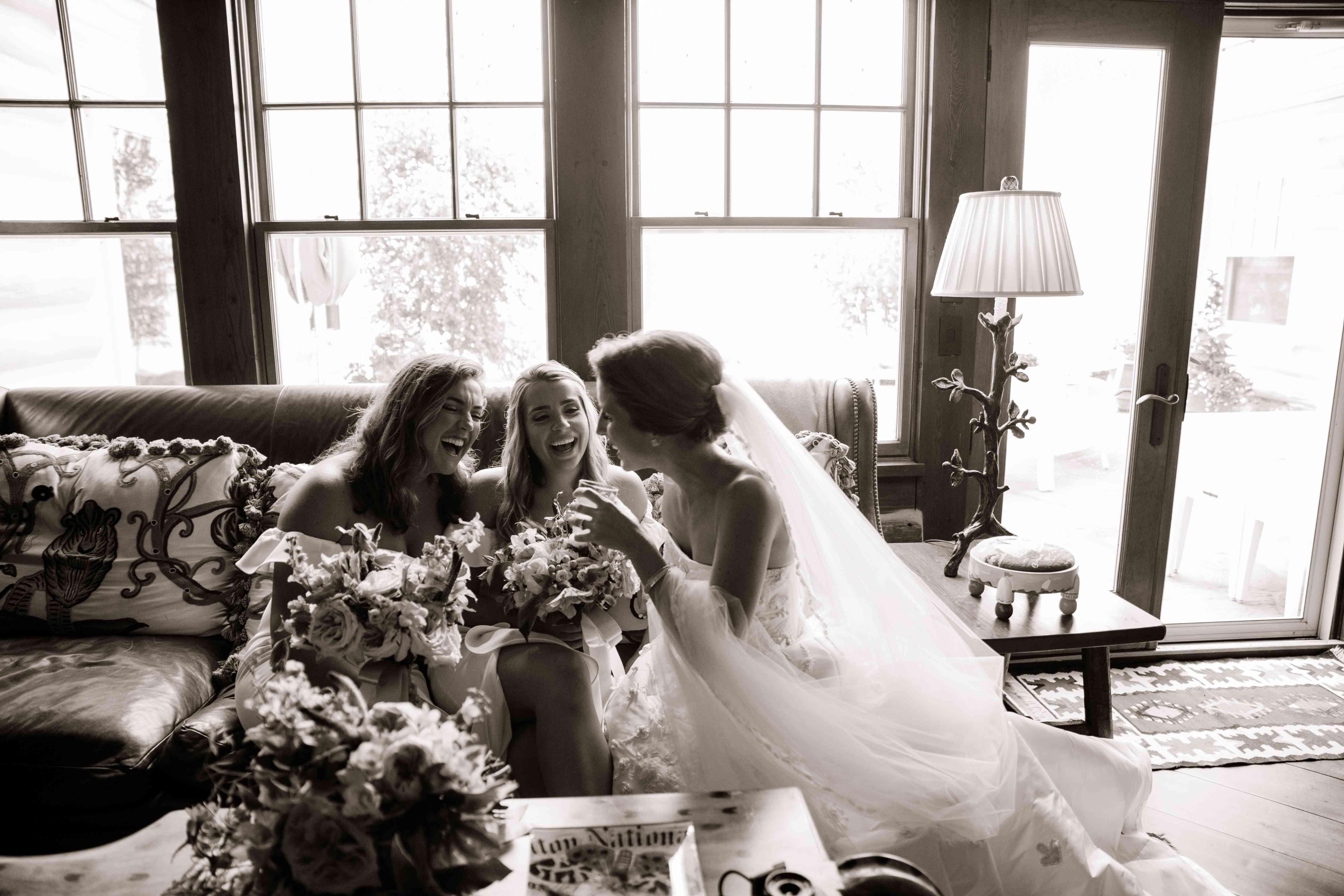 Girls talking to bride