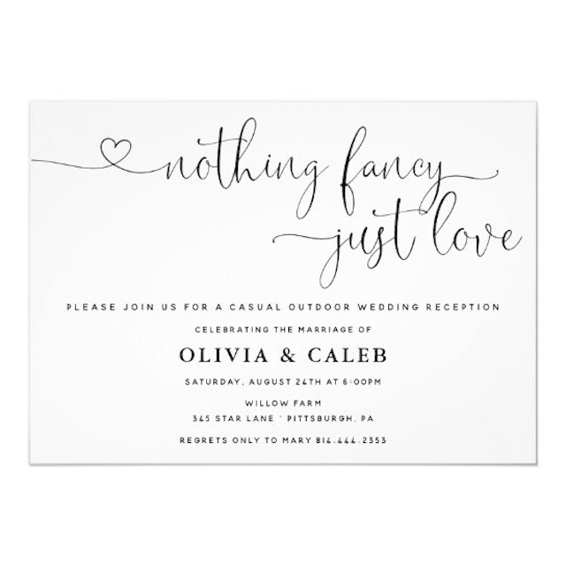 Adore Paper Co. for Zazzle Nothing Fancy Just Love Wedding Invitation