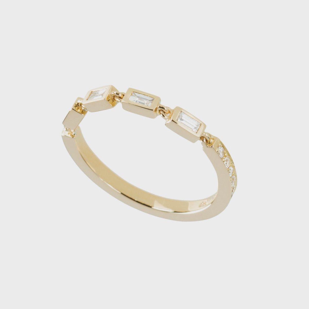 Nikos Koulis Yellow Gold Ring with White Diamonds and White Diamond Baguettes