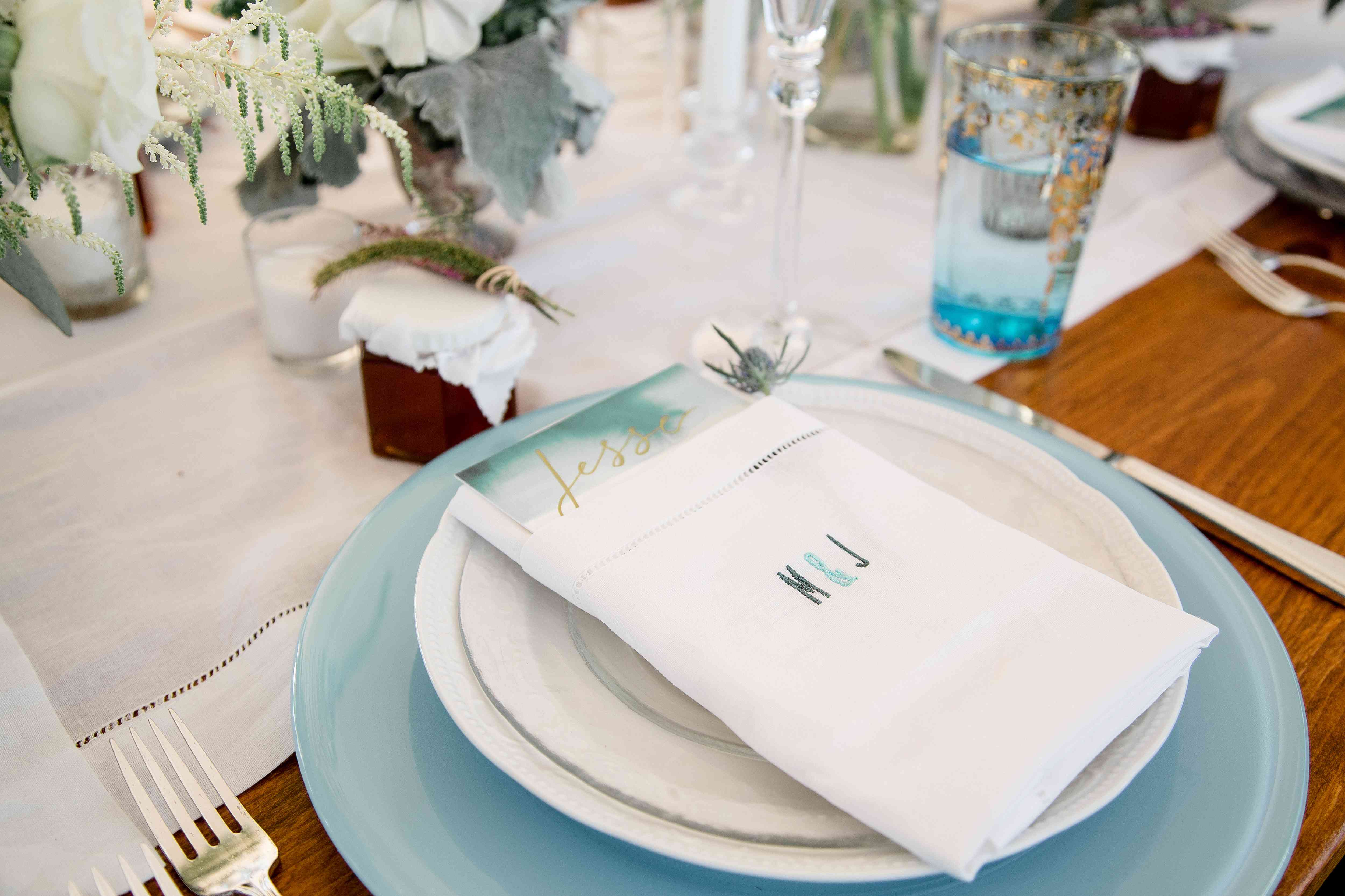 place setting with napkin
