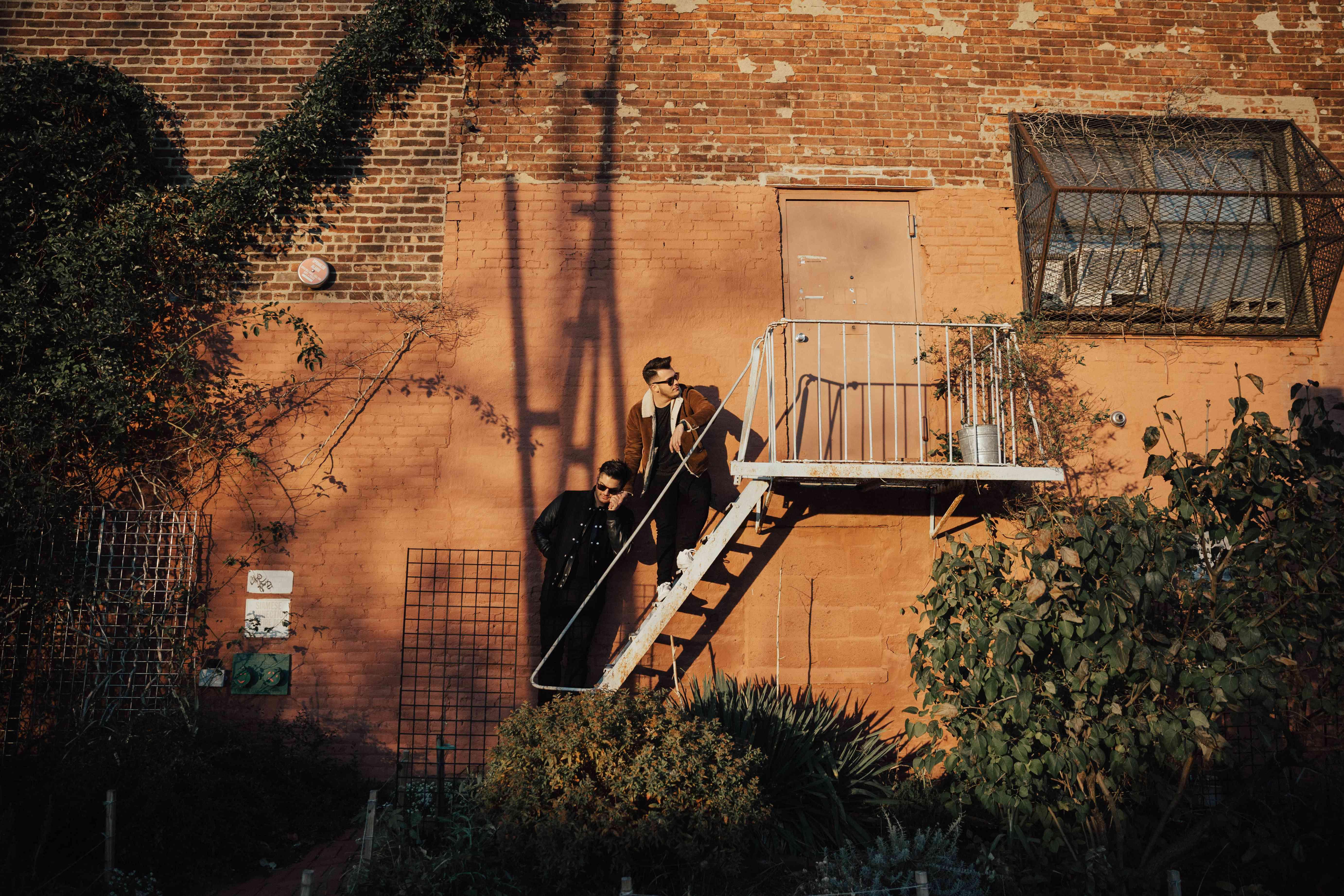 Couple on a fire escape