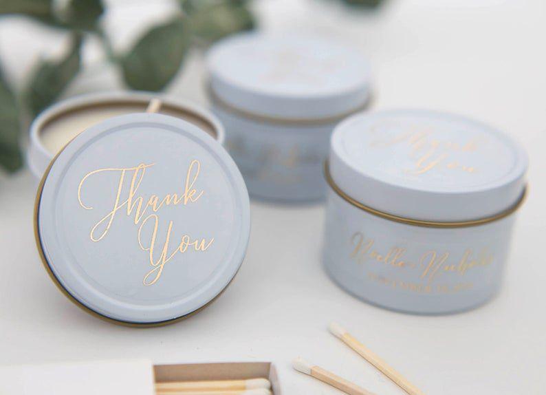 Mini tin wedding favor candles