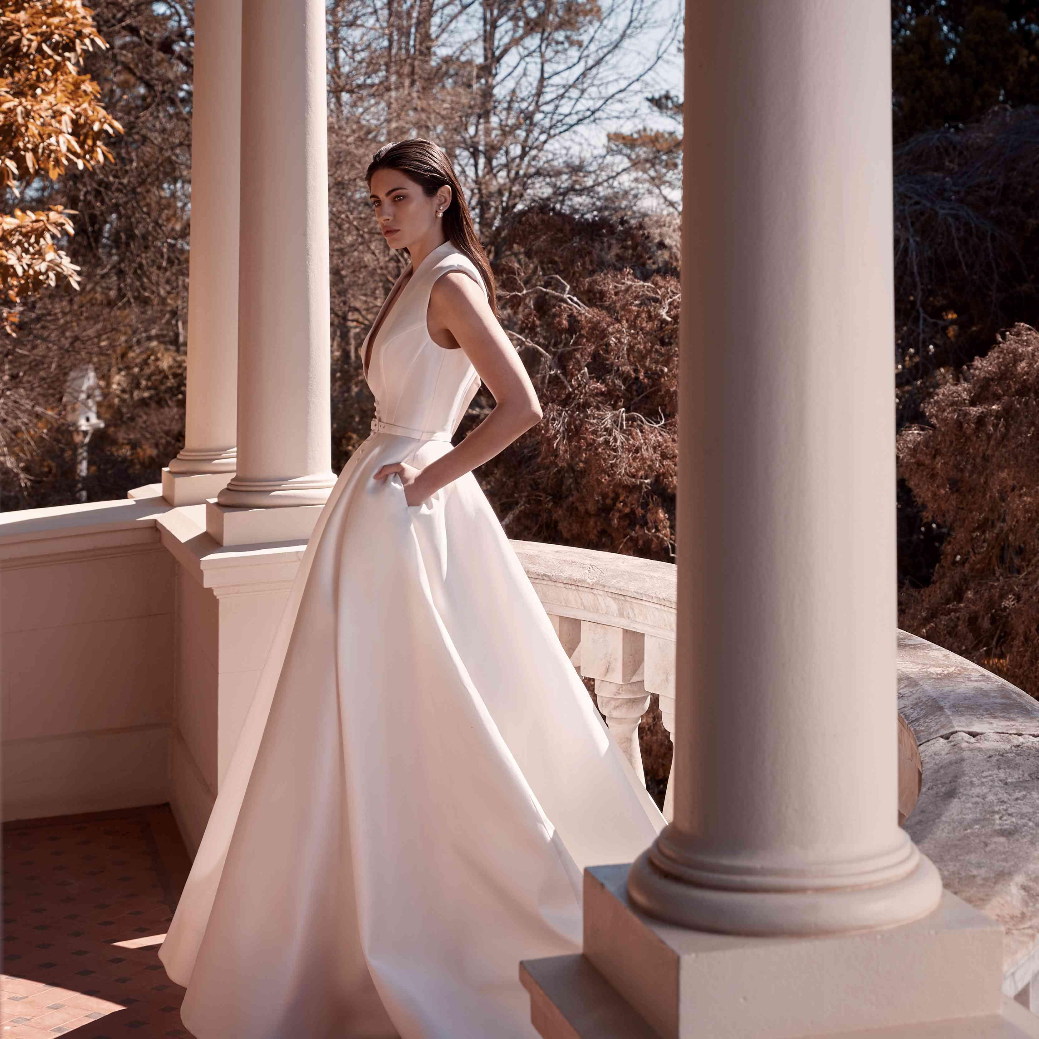 Bronwyn collared wedding dress