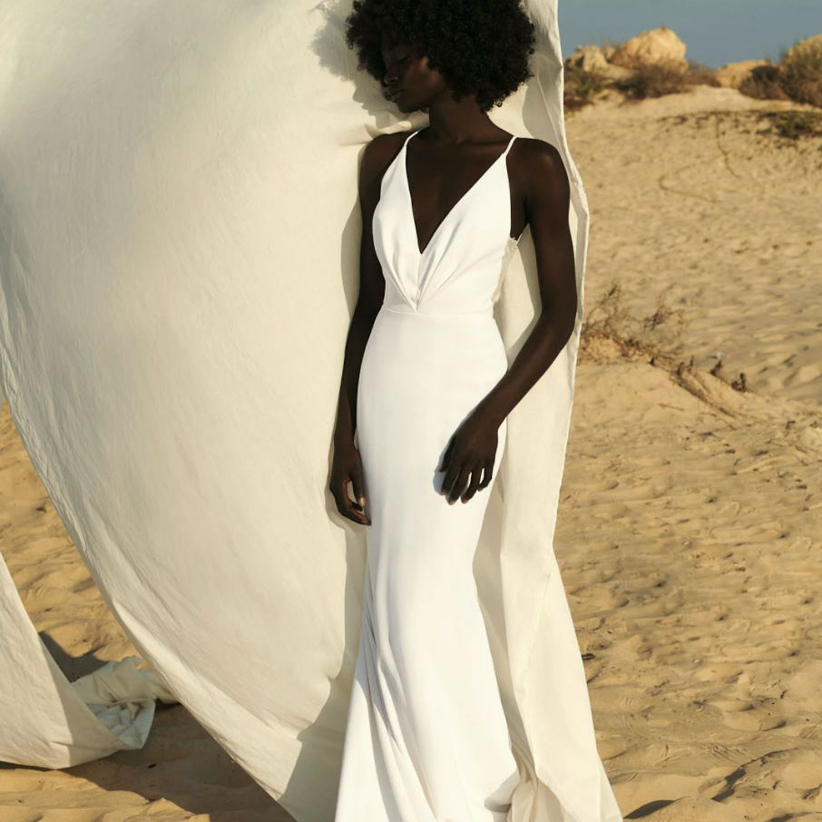 body skimming dress with plunge neckline
