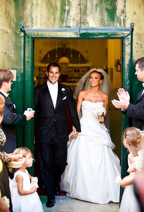 Giuliana Rancic marries Bill Rancic in Monique Lhuillier, 2007