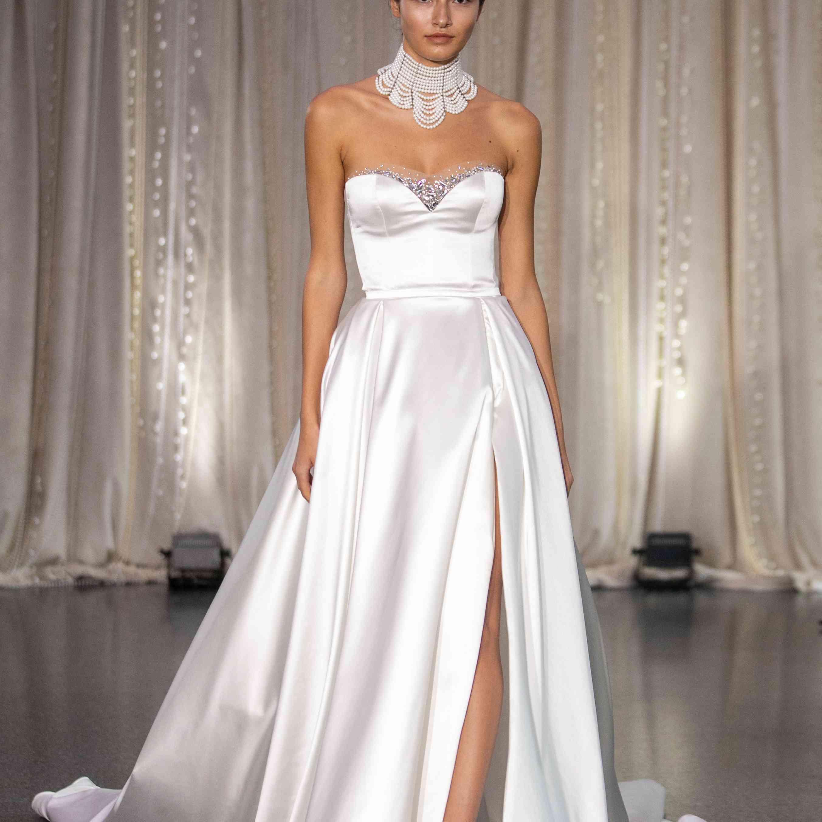 Model in strapless sweetheart wedding dress