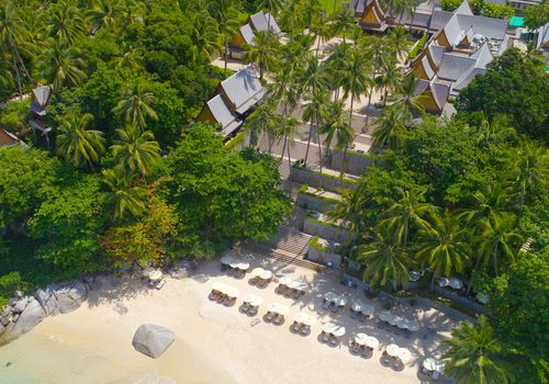 An aerial view of Amanpuri resort in Thailand