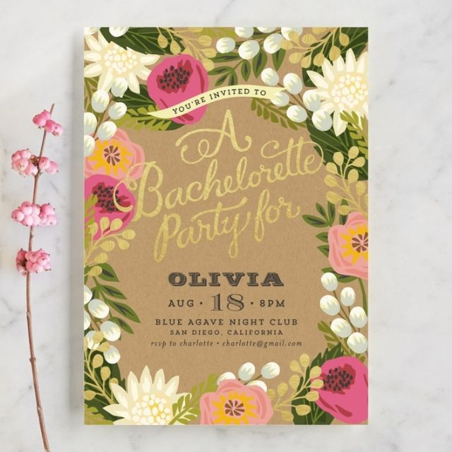 Minted Floral Canopy Bachelorette Party Invitations