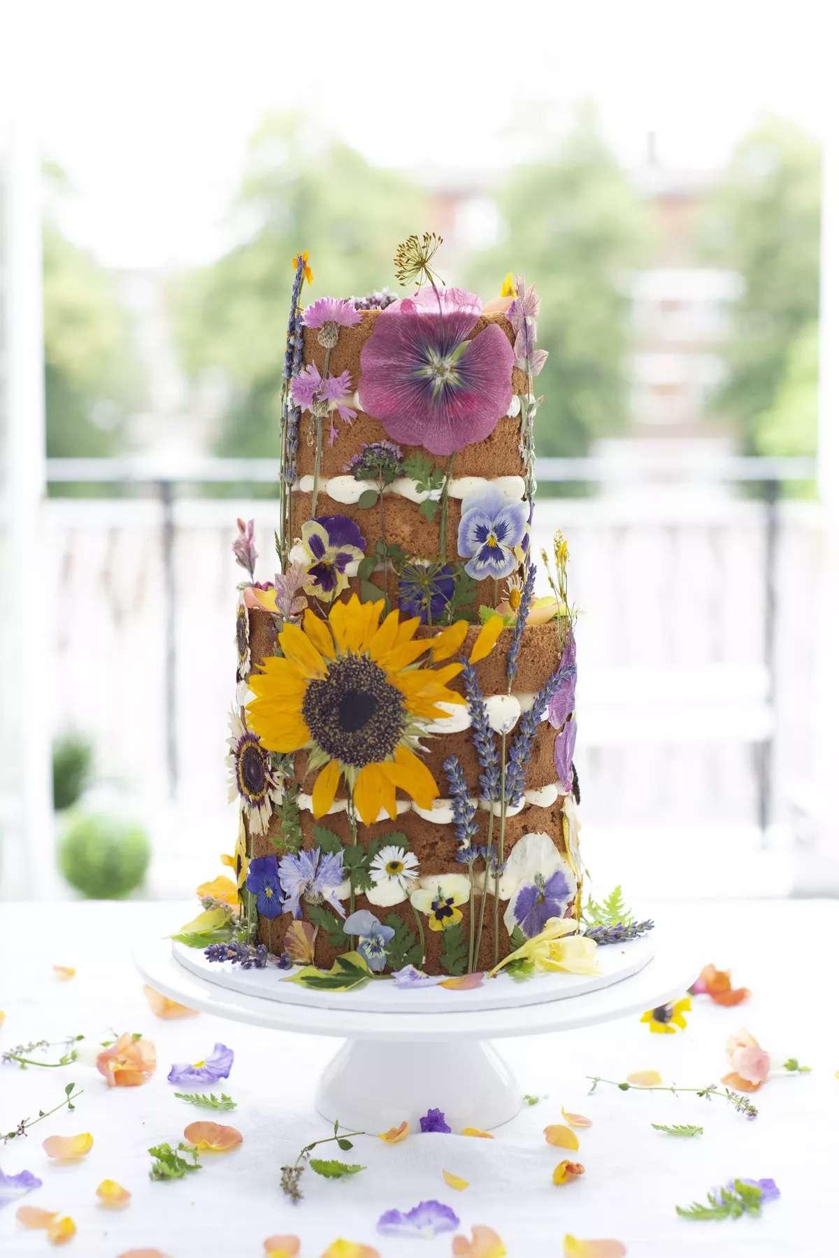 pressed floral wedding cake