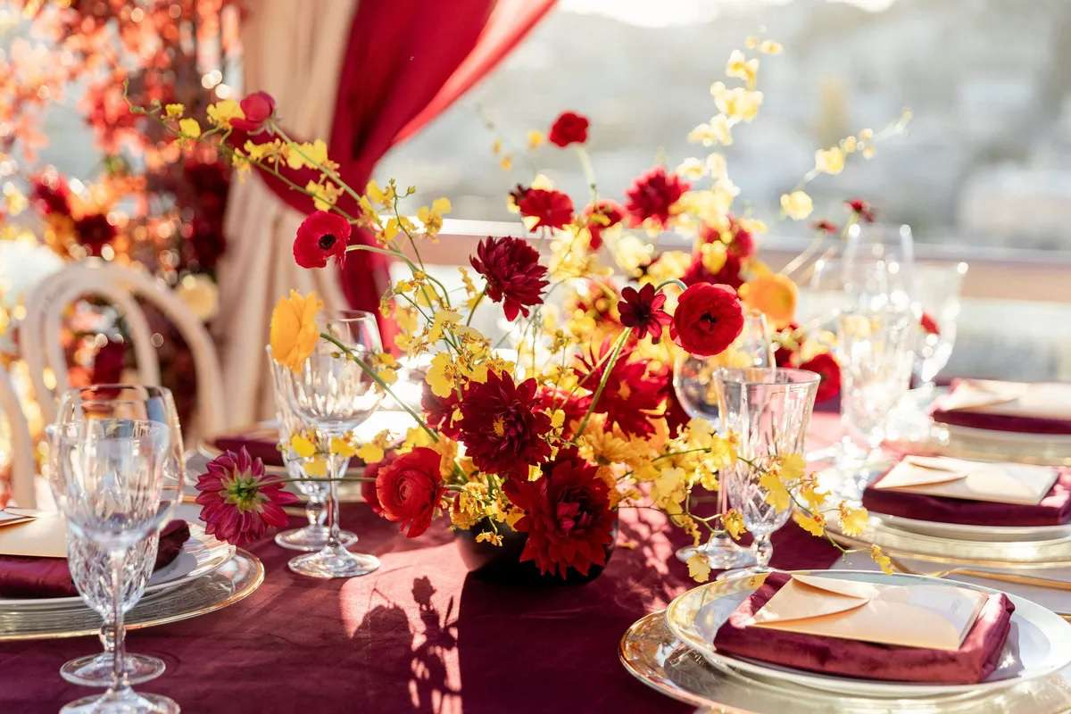 red and yellow floral centerpiece