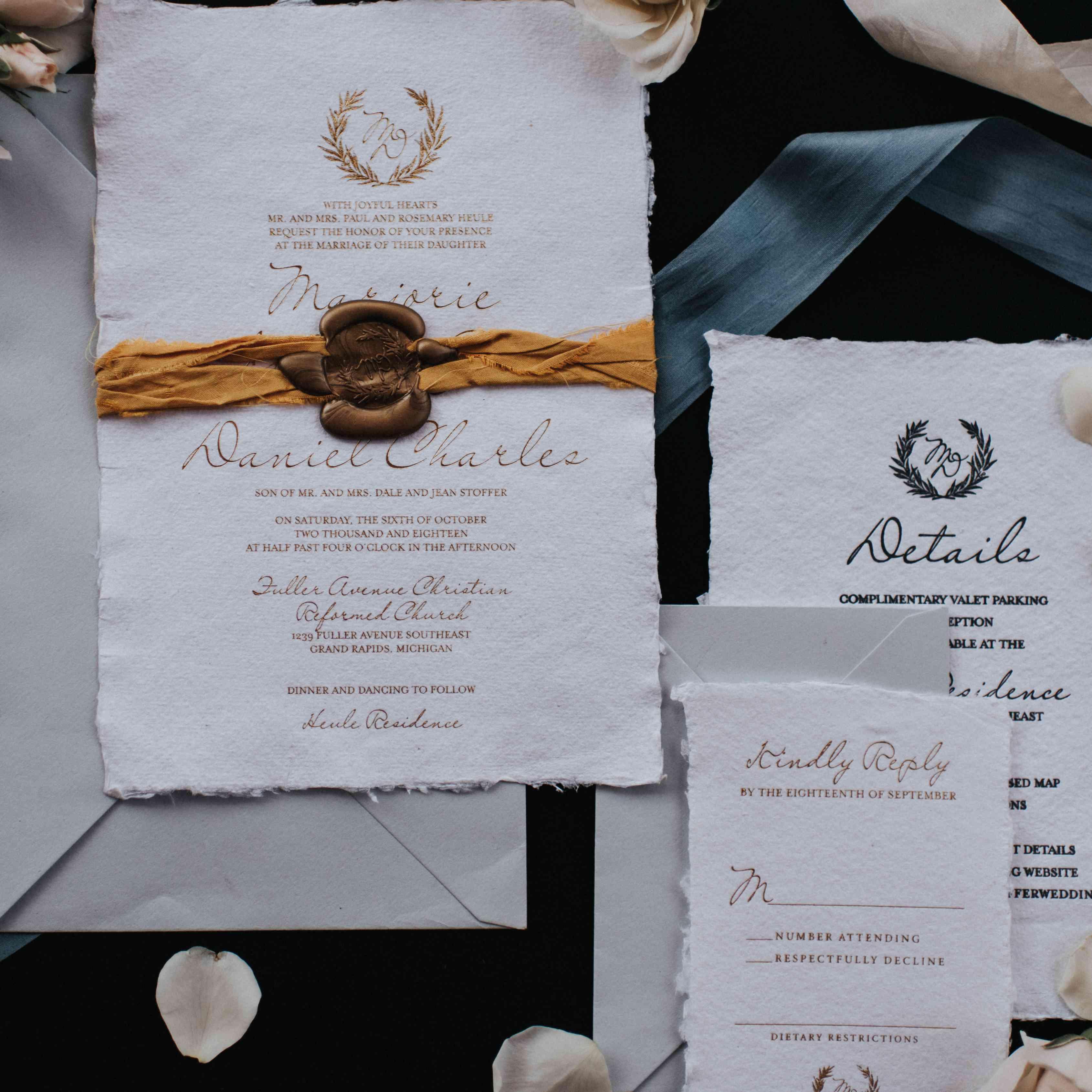personalized michigan wedding, wedding invitation suite