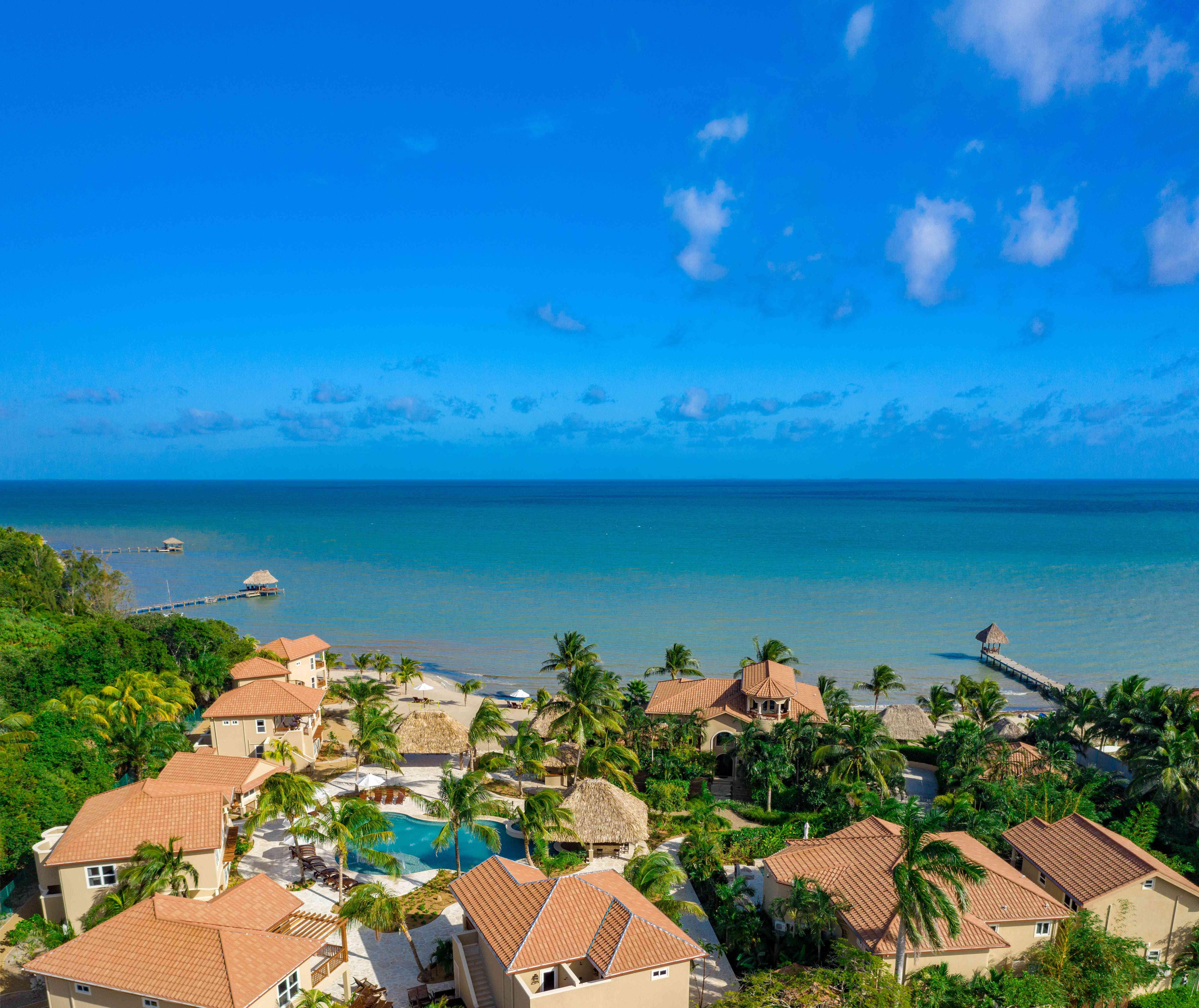 Aeriel view overlooking villas at Sirenian Bay in Belize