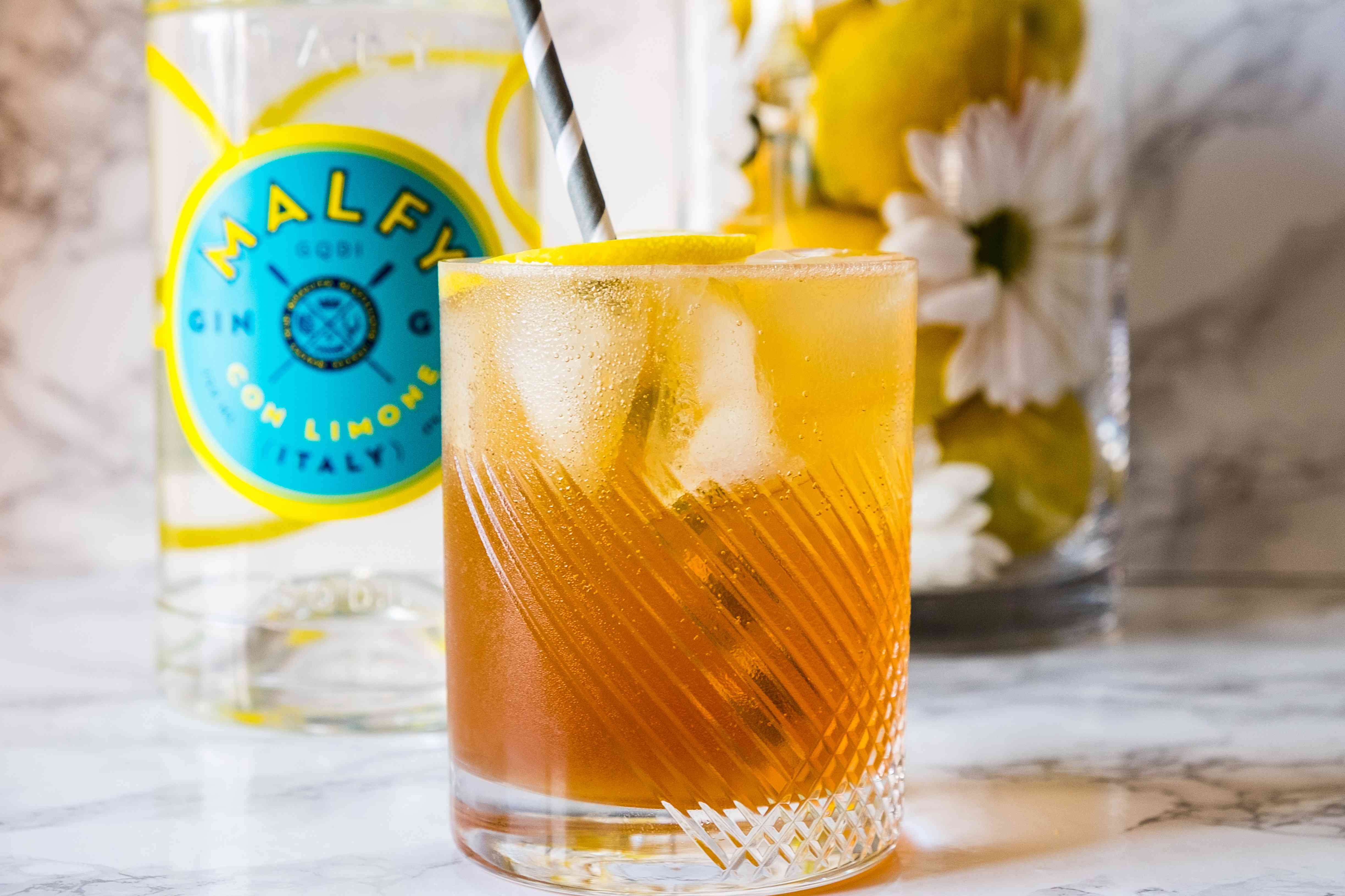 alcohol, signature cocktail, drink, glass, ice, beverage, bar, straw, highball glass