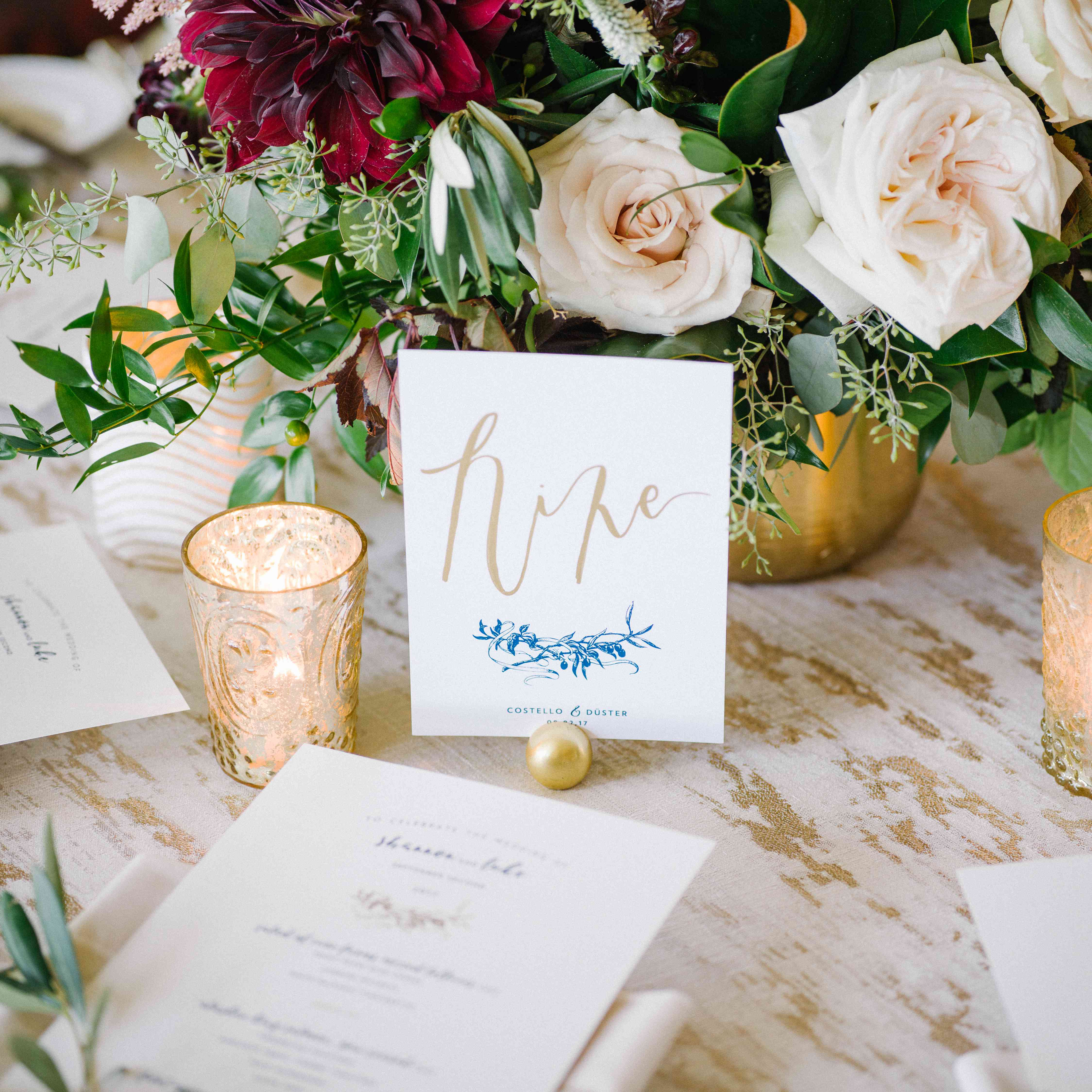 <p>Reception dinner table numbers</p><br><br>