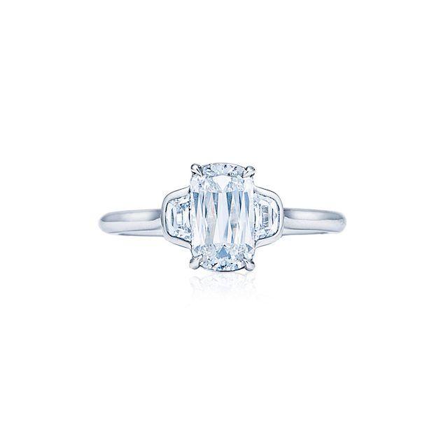 Diamond Engagement Ring with Bezel Set Trapezoid Side Stones