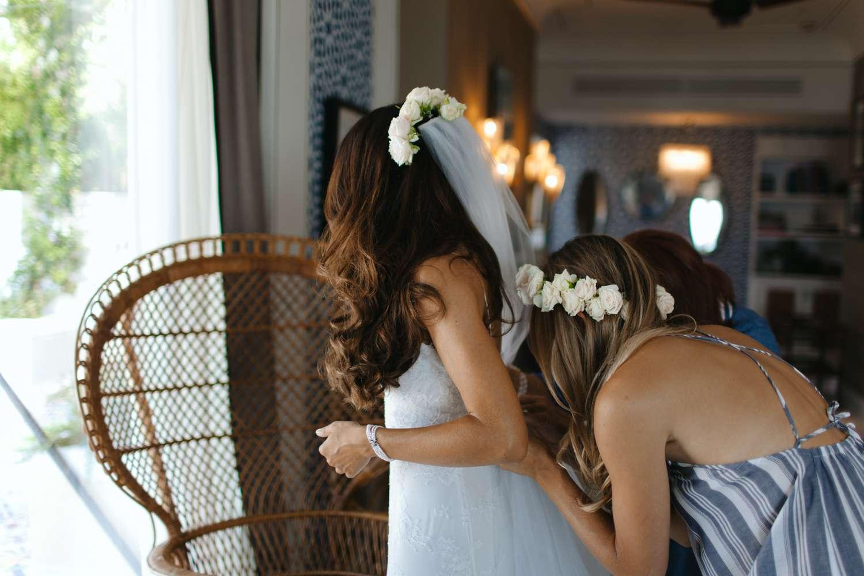 Bride in Flower Crown Veil