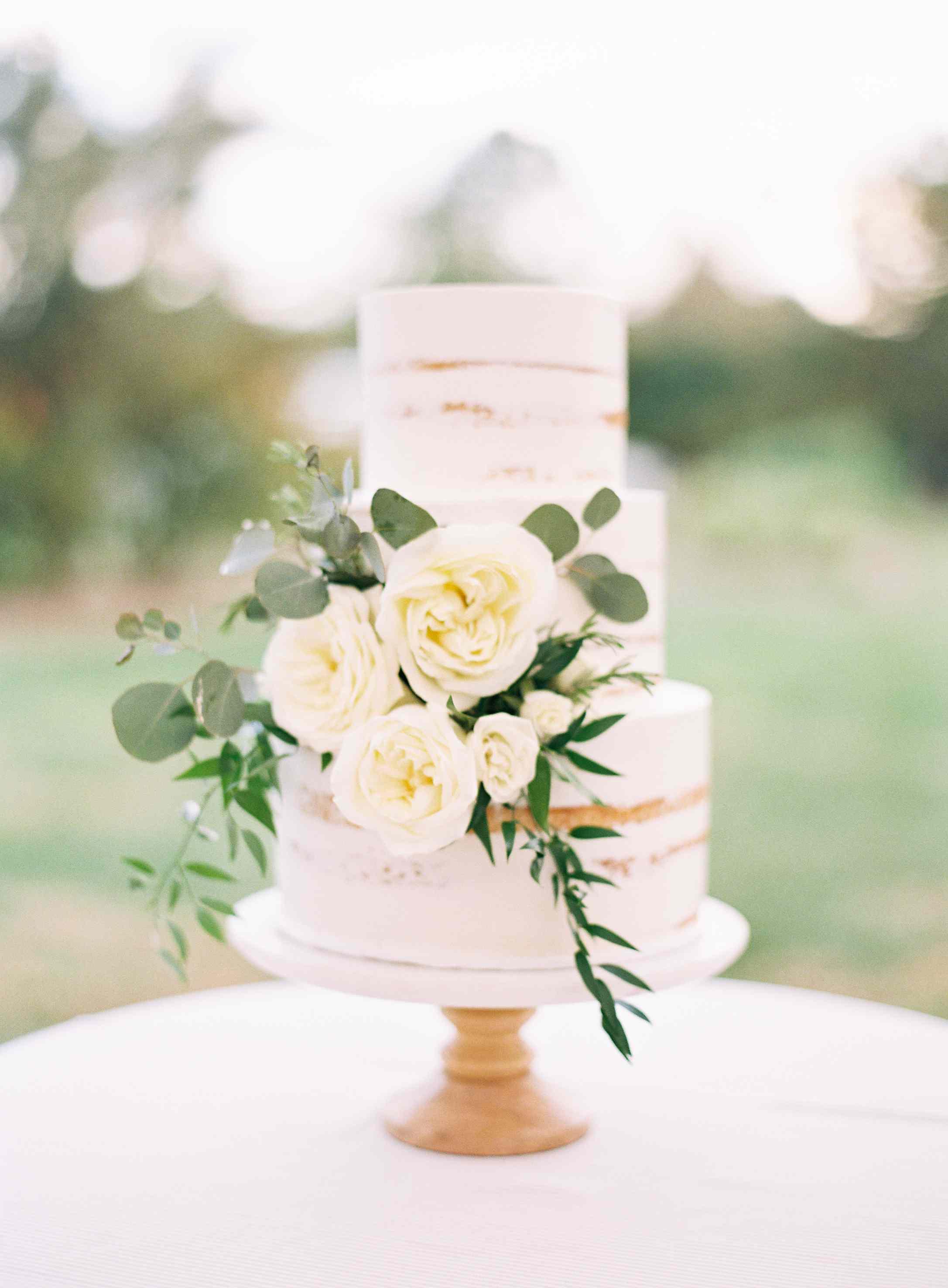 <p>semi-naked wedding cake</p>