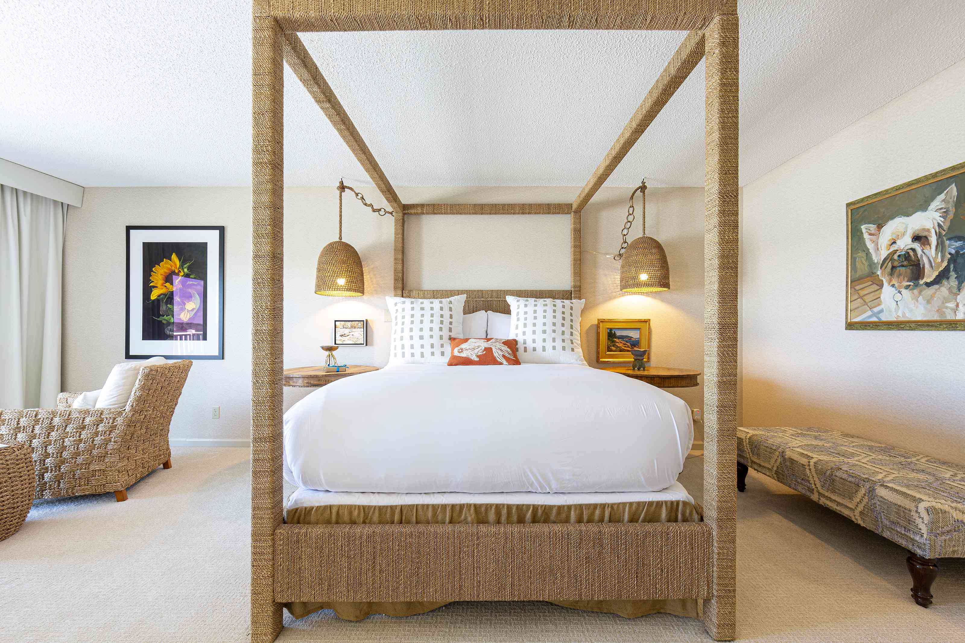 Bedroom with wicker four poster bed