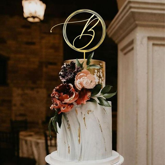 Cake Topper with Calligraphy Initial