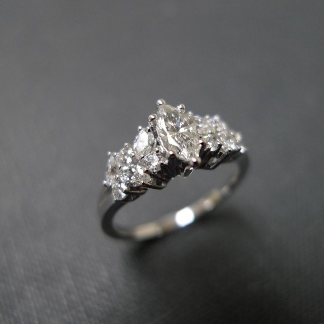 HN Jewelry Marquise Cut Diamond Unique Engagement Ring