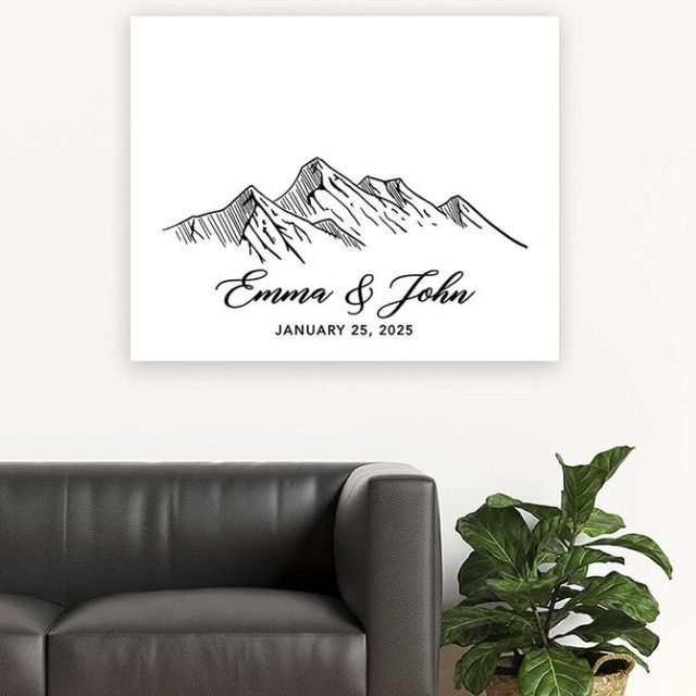 Koyal Wholesale Woodland Mountains Custom Canvas Guestbook