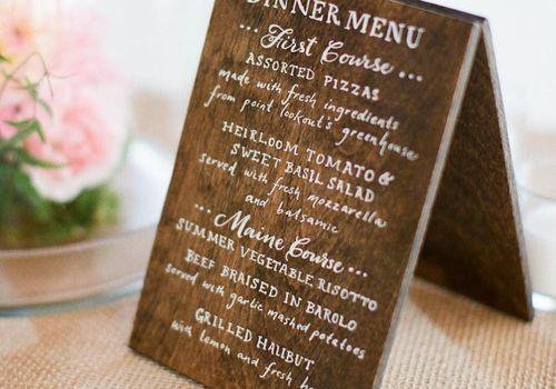 Wooden Reception Menu