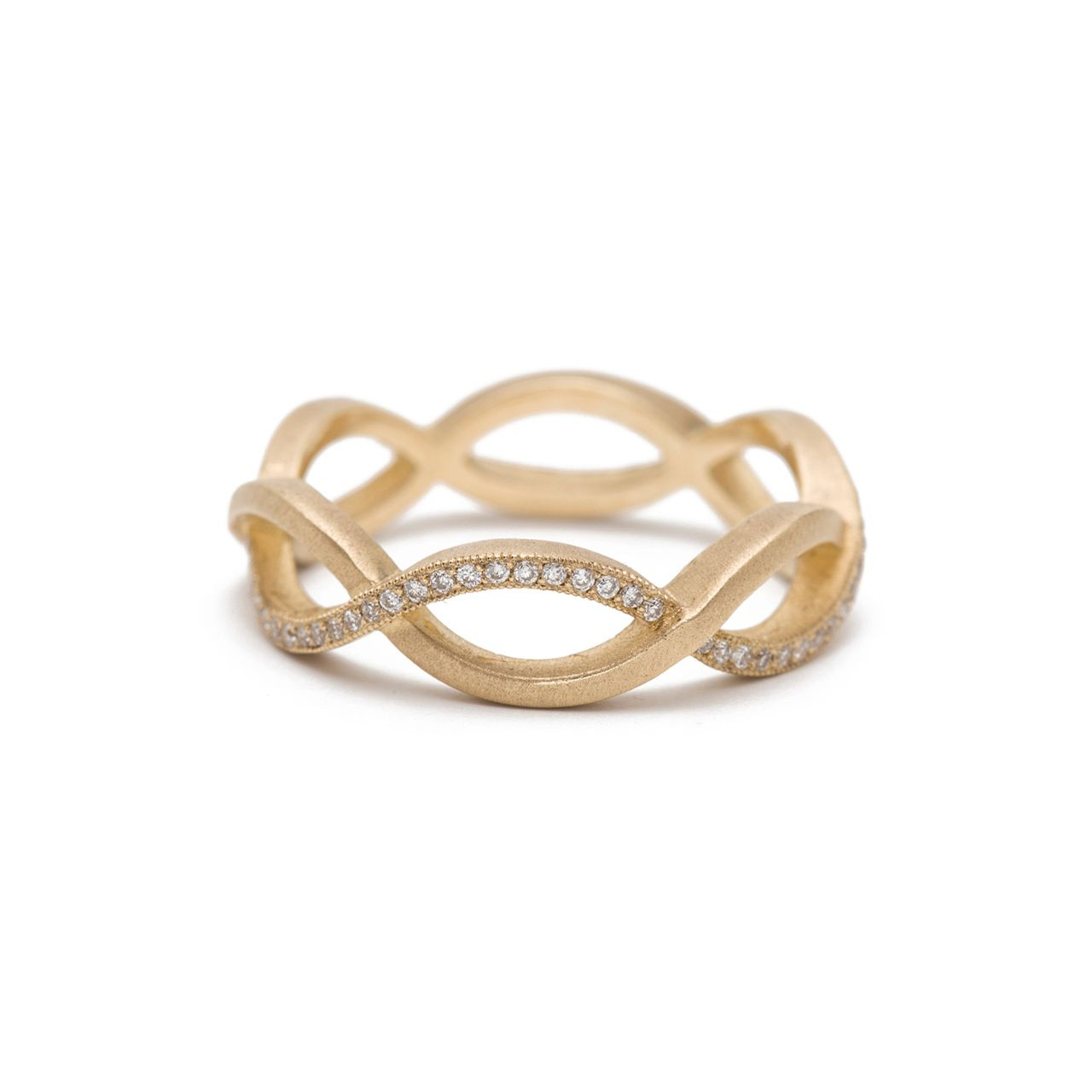 Sofia Kaman Gold Infinity Ring With Diamond Accents