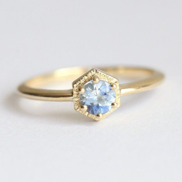 Capucinne Blue Shade Sapphire Ring, Gold Sapphire Ring