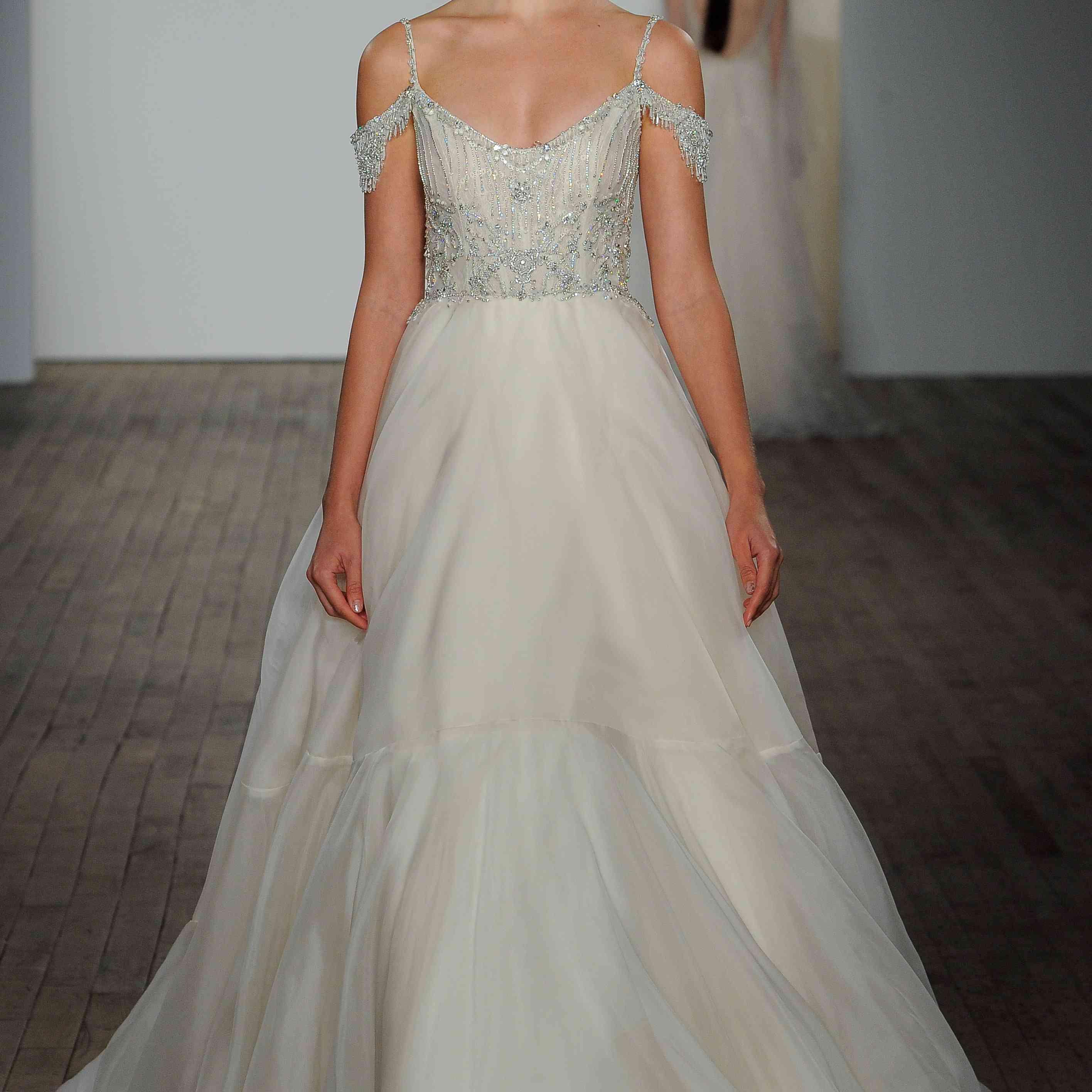Juliet off-the-shoulder wedding dress lazaro