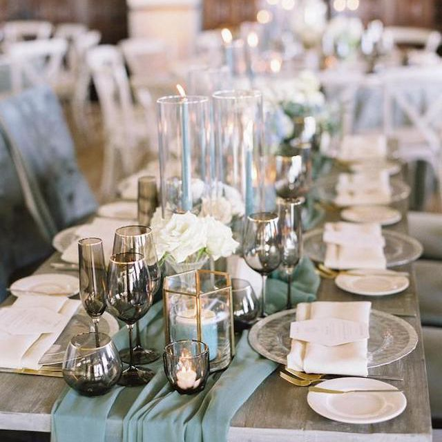 Blue and gray tablescape