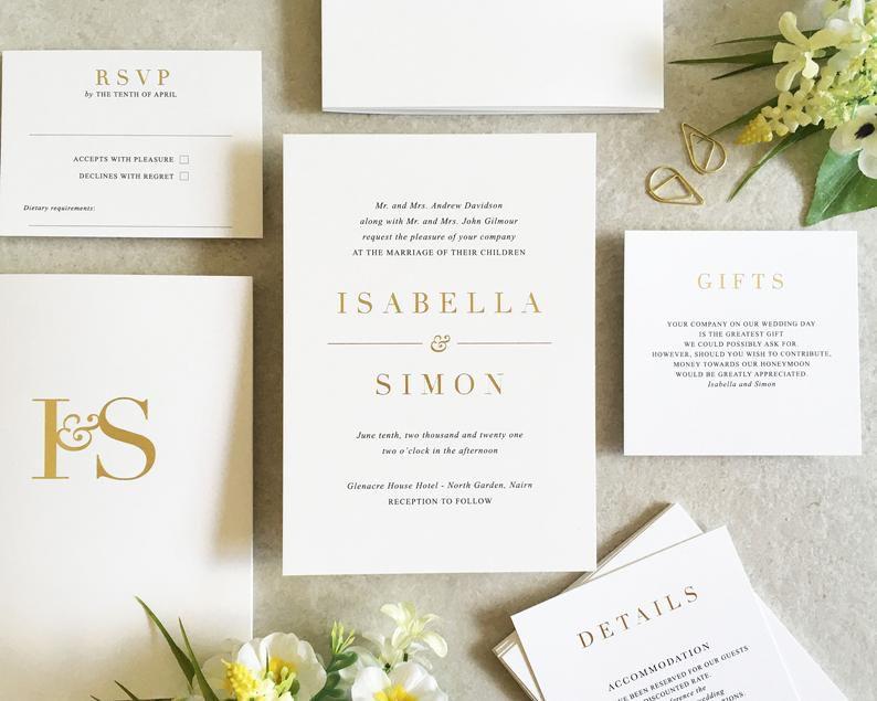 elegant minimal wedding invitation suite