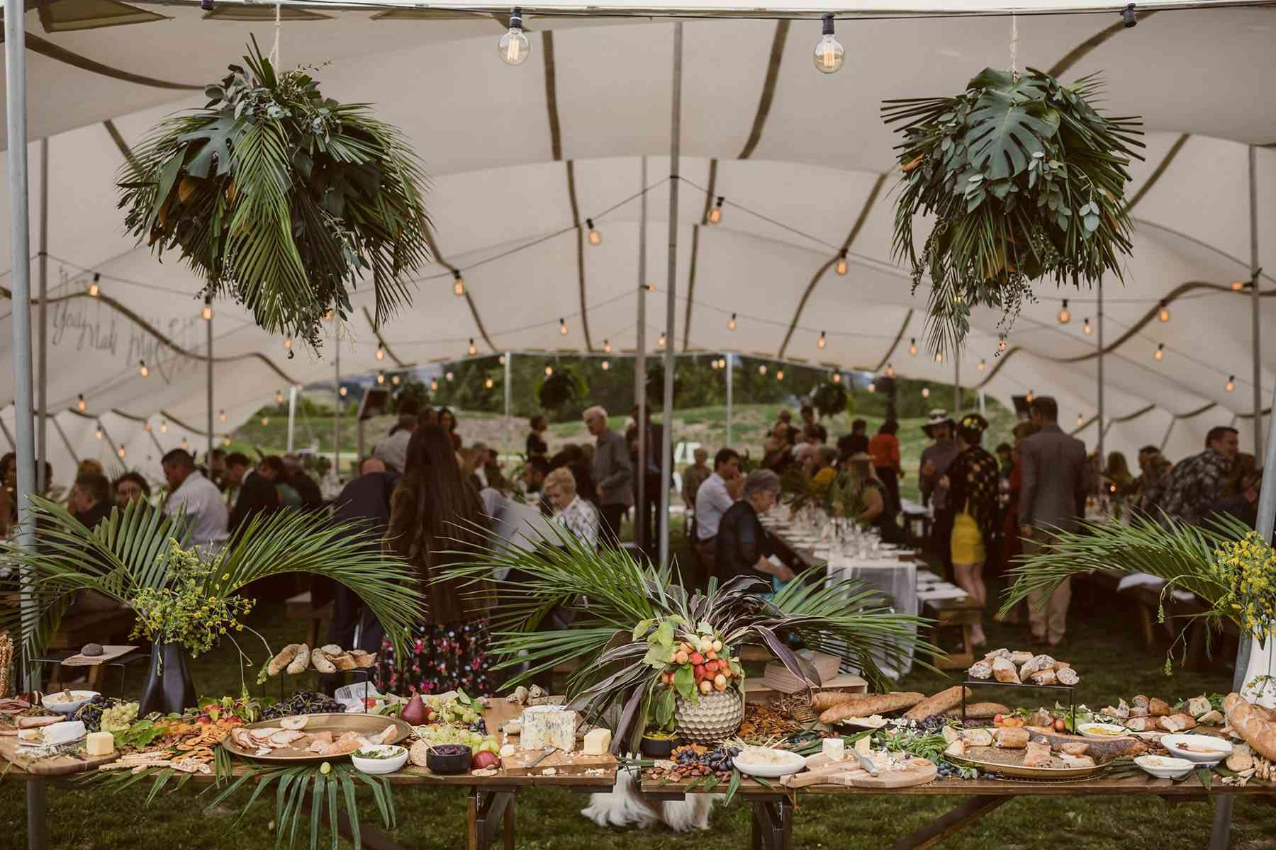 Grazing table with hanging greenery